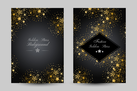 Anniversary luxury backgrounds with gold stars decoration. Vertical cards with decoration