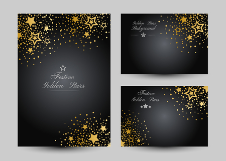 Anniversary luxury backgrounds with gold stars decoration. Banners collection. Vertical poster and gift cards.