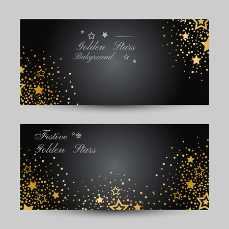 Anniversary luxury backgrounds with gold stars decoration. Horizontal flyers with copy space.