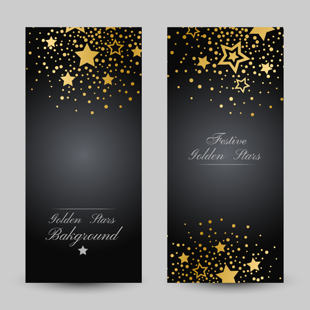 Anniversary luxury backgrounds with gold stars decoration. Vertical flyers with copy space.