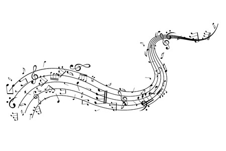 Notes on the horizontal wavy path. Music decoration element, isolated on the white background.  イラスト・ベクター素材