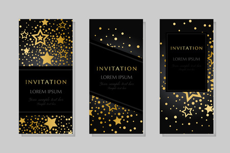Anniversary luxury backgrounds with gold stars decoration. Vertical banners. Invitation template