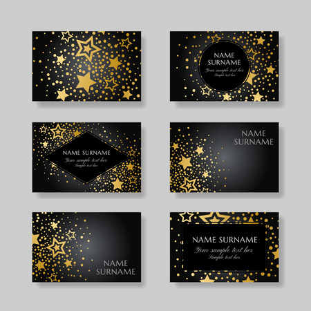 Anniversary luxury backgrounds with gold stars decoration. Business cards template. Stock Vector - 97093200