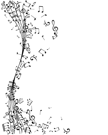 Notes on the vertical wavy swirl path. Music decoration element, isolated on the white background.