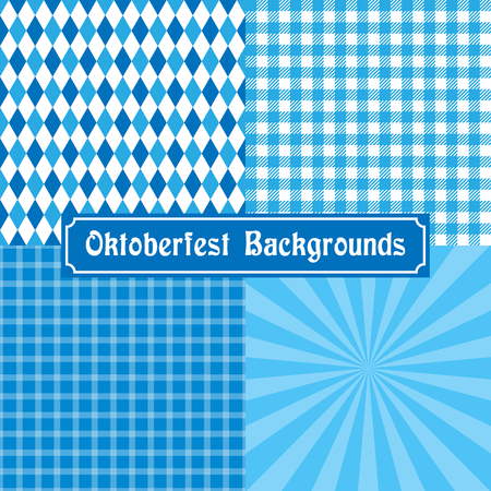 Oktoberfest background collection. Tablecloth, checked, diamond and rays. Ilustrace