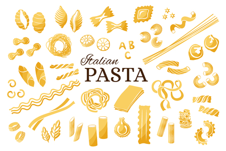Italian pasta collection. Vector isolated decorative elements for menu or package design. 向量圖像