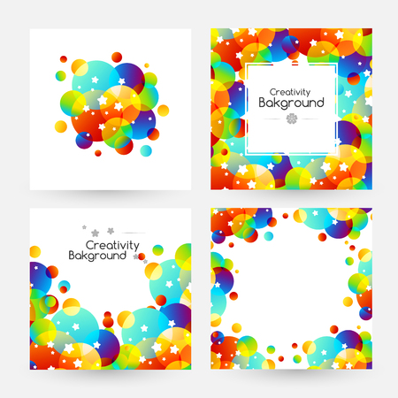 Creative kids cards with colorful bubble decoration and starry texture. Square banners with copy space