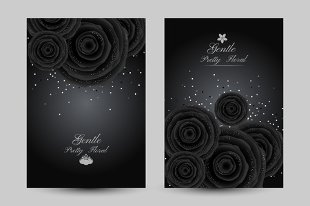 Luxurious cards with black glamour roses and platinum confetti vector illustration set