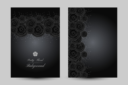 Luxury cards with black glamour roses and platinum confetti. Vertical posters with border elements