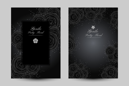 Luxury cards with black glamour roses and platinum confetti. Vertical posters with decorative elements