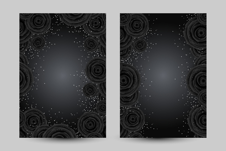 Luxury cards with black glamour roses and platinum confetti. Vertical background