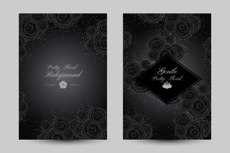 Luxurious cards with black glamour roses and platinum confetti vector illustration Illustration