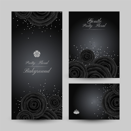 Luxury backgrounds with black glamour roses and platinum confetti. Banners collection. Vertical flyer and poster and gift card. Illustration
