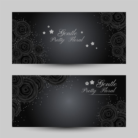 Luxury cards with black glamour roses and platinum confetti. Horizontal flyers. Vector illustration. Illustration