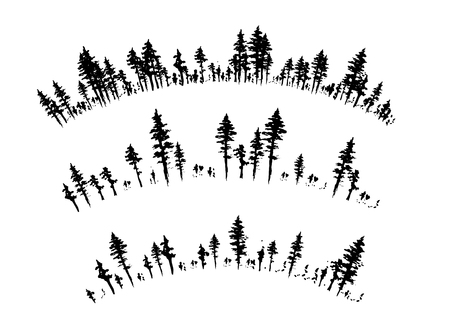 Ink hand drawn forest. Design collection. Arc borders divider