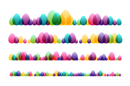 Easter eggs. Design collection. Horizontal dividers set. Ilustracja