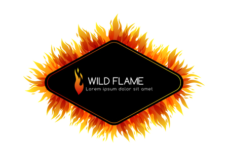Fire. Design collection. Rhombus frame with decorative border and emblem Vector illustration