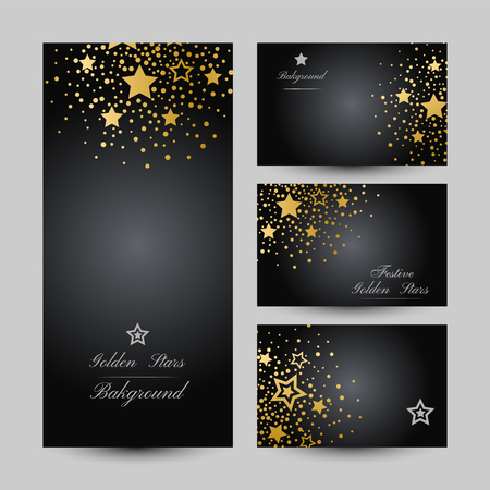 Anniversary luxury backgrounds with gold stars decoration. Banners collection. Illustration