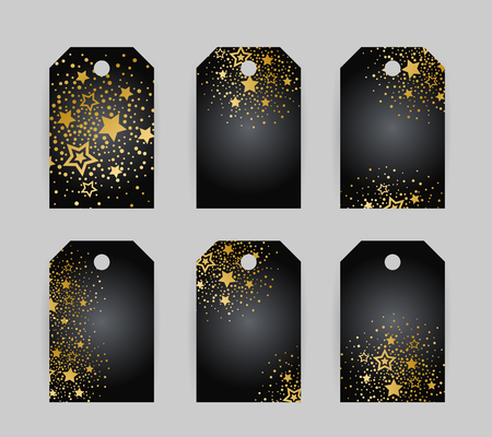 Anniversary luxury tags with gold stars decoration vector illustration set