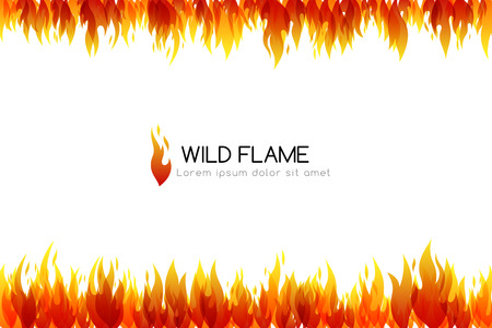 Fire. Design collection. Horizontal banner with top and down border decoration elements Vector illustration Vettoriali