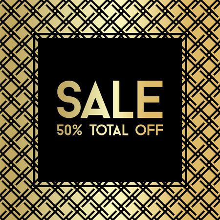 Gold grid Sale banner template vector illustration