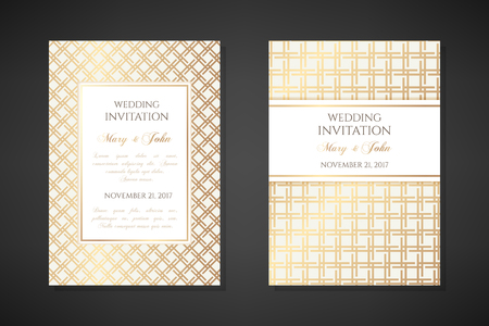 Gold gride. Wedding invitation templates. Cover design with ornaments. Vector decorative backgrounds with copy space. Vettoriali