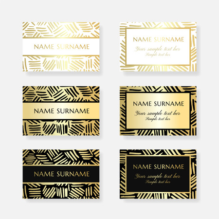 Gold ink lines. Business card design templates. Vector banners with ornamental texture and copy space.