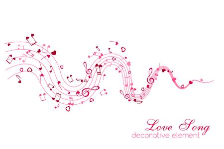 Notes and Hearts on the wavy path. Love Music decoration element isolated on the white background.