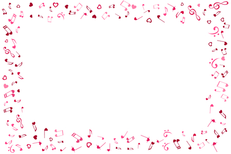 Notes and Hearts frame. Love Music decoration element isolated on the white background. Illustration