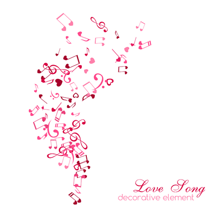 Notes and hearts. Love Music vertical decoration element isolated on the white background.