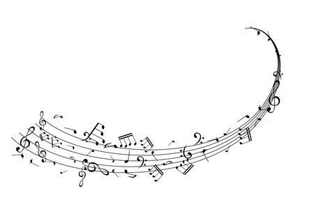 Notes on the horizontal swirl. Music decoration element isolated on the white background. 免版税图像 - 97019045