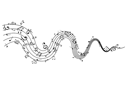 Notes on the wavy path. Music decoration element isolated on the white background.