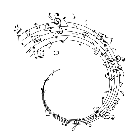 Notes on the swirl. Music decoration element isolated on the white background. Stock Illustratie