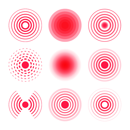 Pain circles collection. Radial targets vector illustration.