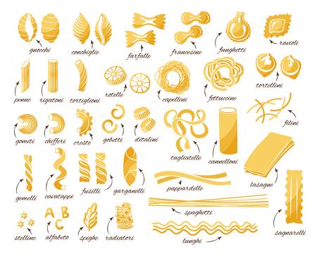 Pasta-Auflistung. Reihe von verschiedenen Arten. Vektor lokalisierte dekorative Elemente für Menü oder Verpackungsgestaltung.