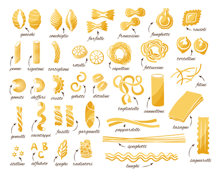 Pasta collection. Set of different types. Vector isolated decorative elements for menu or package design.