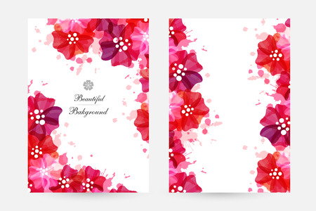 Romantic background with red and pink poppies and paint splashes. Floral design Vector illustration.  イラスト・ベクター素材