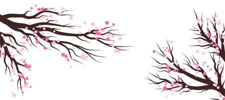 Spring blossom trees. Vector decoration elements.. Horizontal vector banner.
