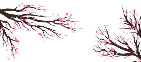 Árboles de flor de primavera. Elementos de decoración de vectores ... Banner de vector horizontal.