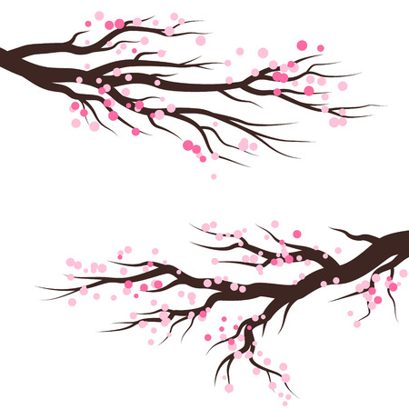 Spring blossom trees with pink flowers. Vector decoration elements.