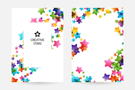 Creative kids design collection. Vector cards with colorful stars,  decoration elements. Vertical posters with frame and borders decoration. Vectores