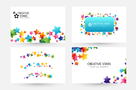 Creative kids design collection. Vector cards with colorful stars,  decoration elements. Horizontal backgrounds, dividers and square frame.