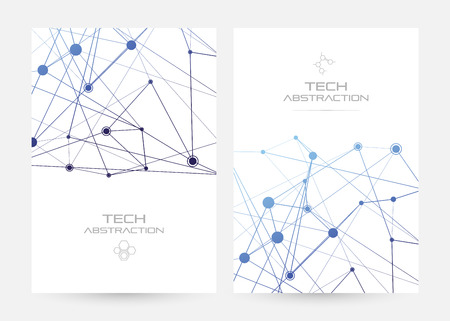 Structure of particles or molecules. Connected line and dots. Conceptual illustration of technology communication or data algorithm. Vertical poster. Vectores