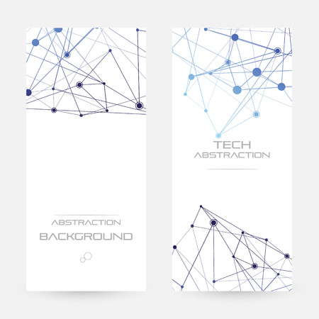 Structure of particles or molecules. Connected line and dots.  Vertical flyers Vector illustration.