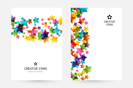 Creative kids design collection. Vector cards with colorful stars,  decoration elements. Vertical posters with border elements Illustration