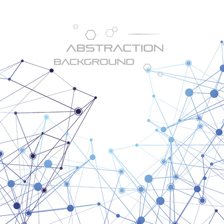 Estructura de partículas o moléculas. Línea conectada y puntos.