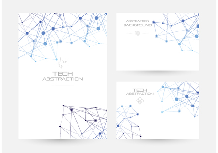 Structure of particles or molecules. Connected line and dots. Conceptual illustration of technology communication or data algorithm. Set of banners.