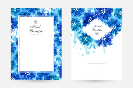 Romantic background with blue cornflowers and paint splashes. Floral design for cosmetics product or wedding invitation. Vertical posters with frame and borders decoration.