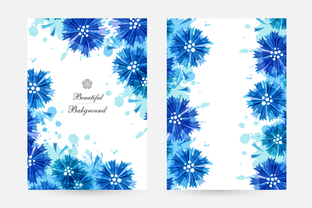 Romantic background with blue cornflowers and paint splashes. Floral design for cosmetics product or wedding invitation. Vertical cards Vettoriali
