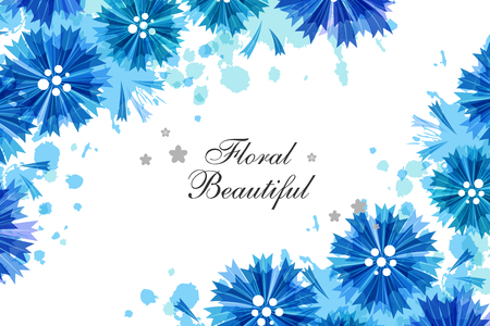 Romantic background with blue cornflowers and paint splashes. Floral design for cosmetics product or wedding invitation. Horizontal banner with corner vignettes